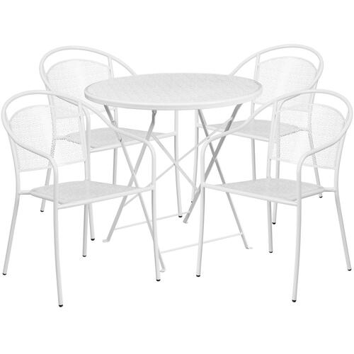 30'' Round White Indoor-Outdoor Steel Folding Patio Table Set with 4 Round Back Chairs