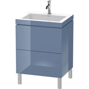 Furniture Washbasin C-bonded With Vanity Floorstanding, Stone Blue High Gloss (lacquer)