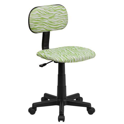 Green and White Zebra Print Swivel Task Chair