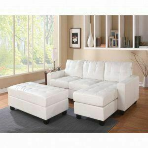 ACME Lyssa Sectional Sofa w/Ottoman - 51210 - White Bonded Leather Match