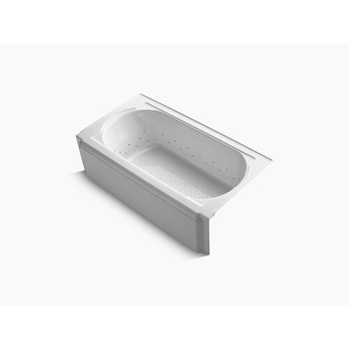"White 60"" X 34"" Alcove Bubblemassage Air Bath With Vibrant Brushed Nickel Airjet Color Finish and Right-hand Drain"