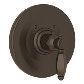 Hex Thermostatic Trim Plate without Volume Control - Tuscan Brass with Metal Lever Handle