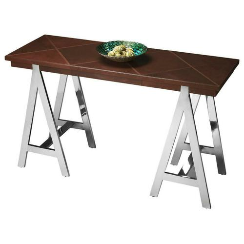 Butler Specialty Company - This bold, fashion-forward table features four shimmering stainless-steel, A-shaped legs supporting a large tabletop covered in geometric shapes in stitched leather.