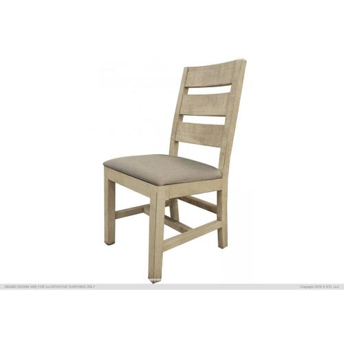 Chair w/Solid wood - Fabric seat - Vintage White finish