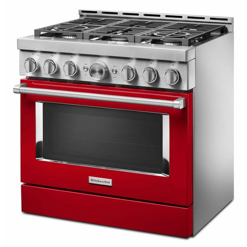 KitchenAid - KitchenAid® 36'' Smart Commercial-Style Gas Range with 6 Burners - Passion Red