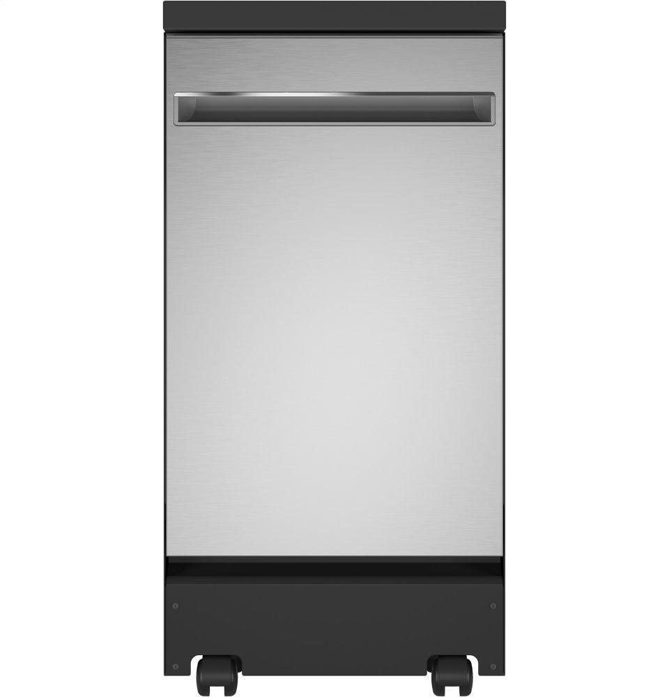 """GE18"""" Stainless Steel Interior Portable Dishwasher With Sanitize Cycle"""