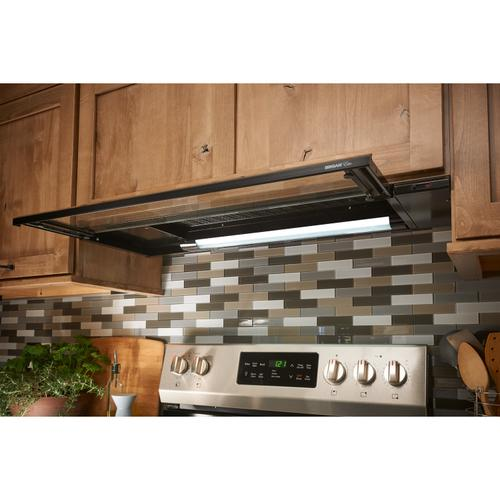 Broan® Elite 36-Inch Under-Cabinet Slide-Out Range Hood w/ Light, Black
