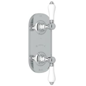 1/2 Inch Thermostatic and Diverter Control Trim - Polished Chrome with White Porcelain Lever Handle