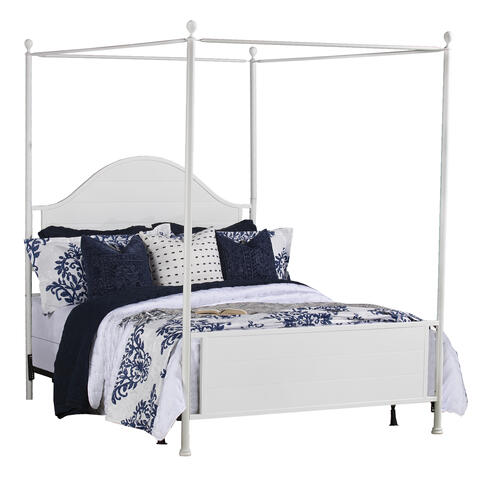 Cumberland King Metal Canopy Bed, Brushed White