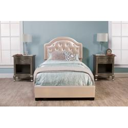 Karley Complete Full-size Bed, Champagne Faux Leather