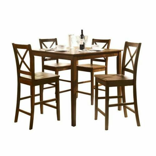ACME Martha 5Pc Pack Counter Height Set - 07550 - Country Brown