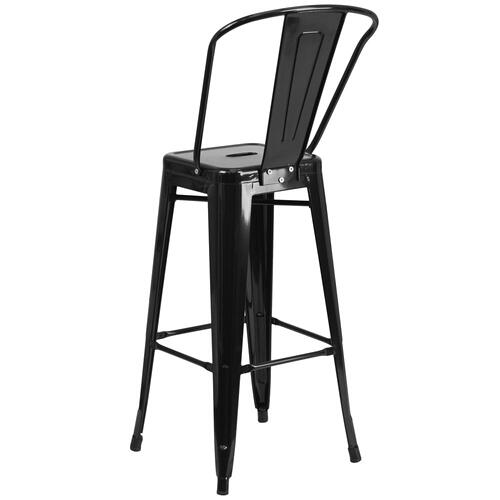30'' High Black Metal Indoor-Outdoor Barstool with Back