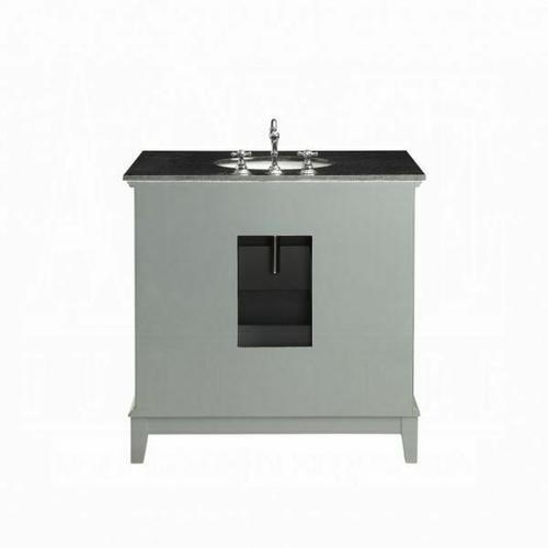 ACME Dinia Sink Cabinet - 90340 - Black Marble & Mirrrored