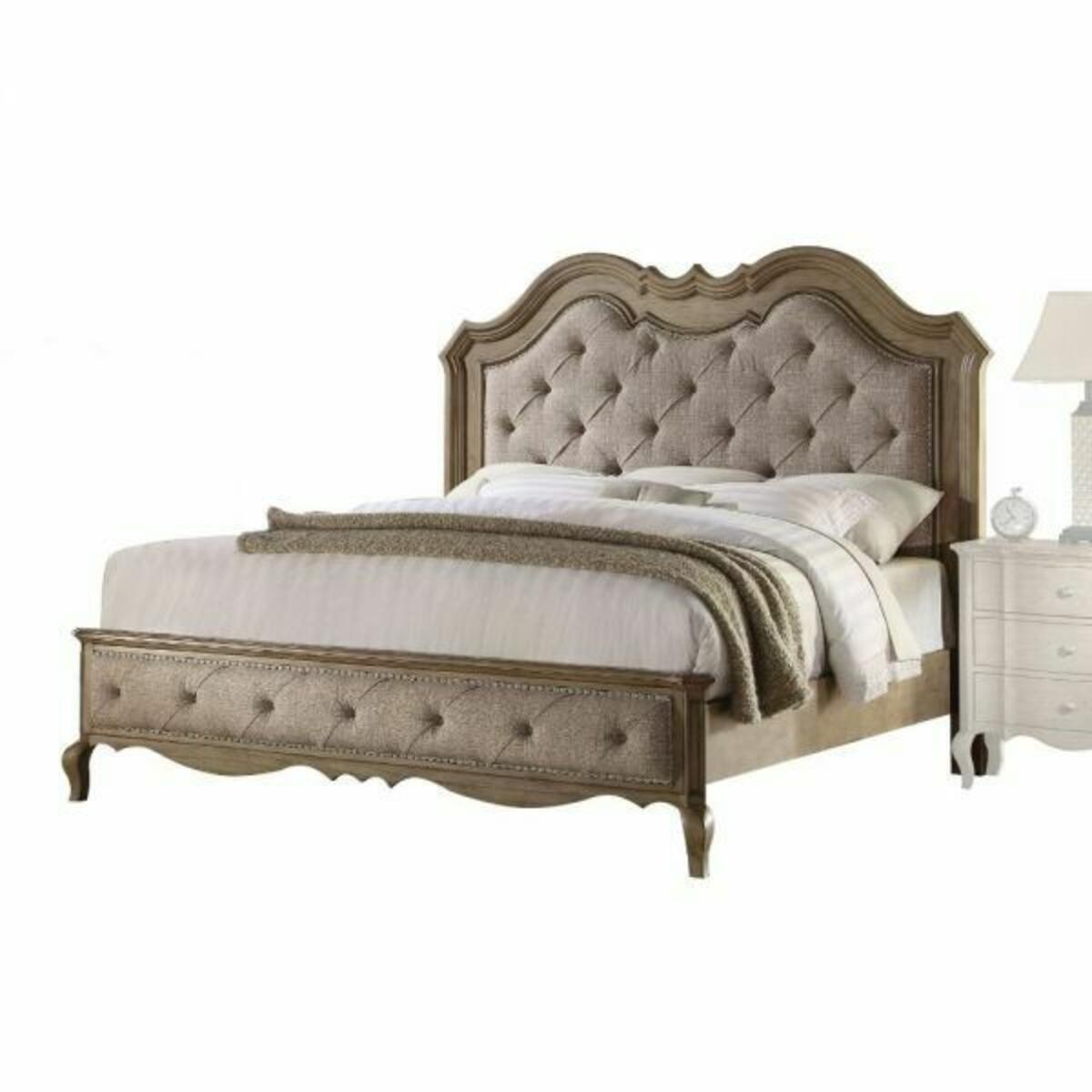 ACME Chelmsford Eastern King Bed - 26047EK - Beige Fabric & Antique Taupe