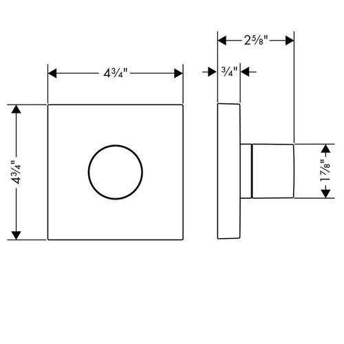Chrome Shut-off/ diverter valve Trio/ Quattro 120/120 for concealed installation