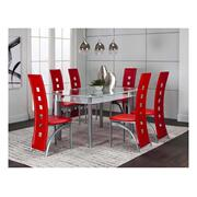 Valencia 40x60 White 7pc Set W/red Side Chairs Product Image