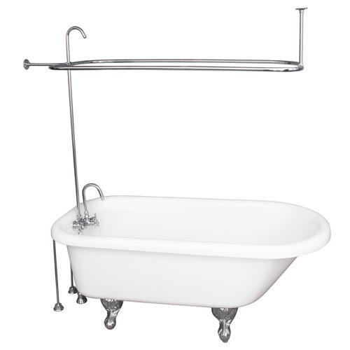 "Asia 67"" Acrylic Roll Top Tub Kit in White - Polished Chrome Accessories"