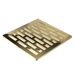 """French Gold - PVD 4"""" Square Shower Drain"""