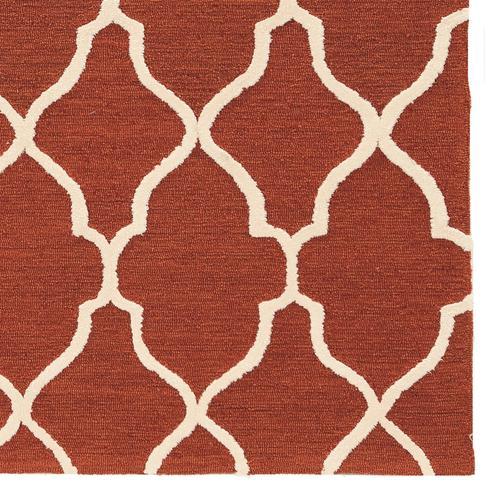 Trio Geo Rust With Cream Silk, 8ftx10ft