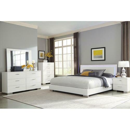 Felicity Contemporary White and High Gloss Eastern King Five-piece Set