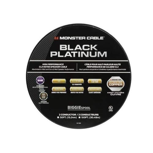 Monster Cable - Black Platinum Clear Jacket Speaker Cable CL Rated Monster XP - 50 ft