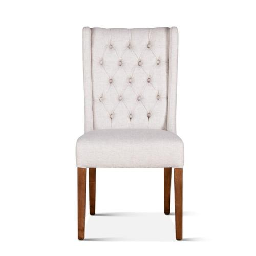 Lara Dining Chair Off White with Natural Teak Legs