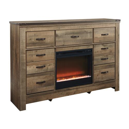 Trinell Dresser W/Fireplace Insert Brown