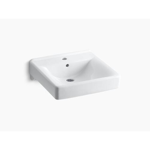 """Biscuit 20"""" X 18"""" Wall-mount/concealed Arm Carrier Bathroom Sink With Single Faucet Hole"""
