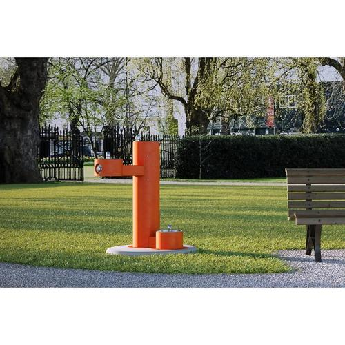 Elkay - Elkay Outdoor Fountain Bi-Level Pedestal with Pet Station, Non-Filtered Non-Refrigerated Orange