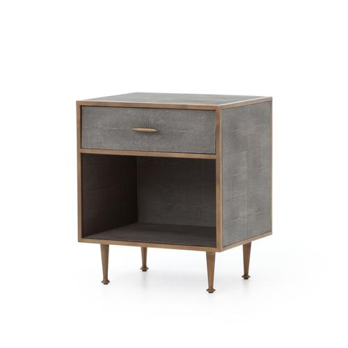 Four Hands - Grey Shagreen Cover Antique Brass Finish Shagreen Bedside Table