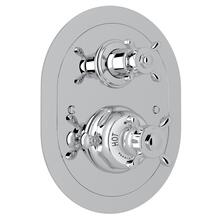 Polished Chrome Perrin & Rowe Edwardian Era Oval Thermostatic Trim Plate With Volume Control with Edwardian Cross Handle