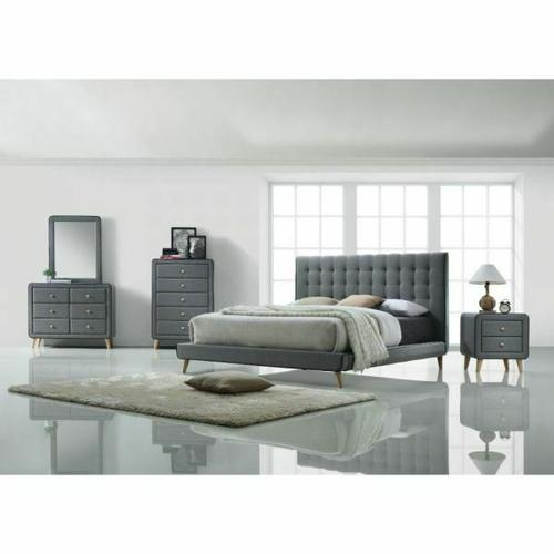 ACME Valda Eastern King Bed - 24517EK - Light Gray Fabric