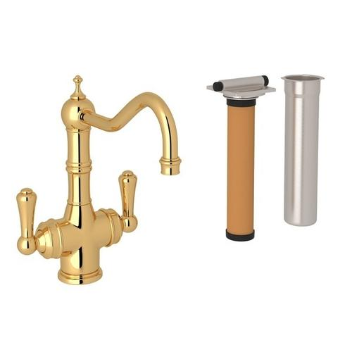 English Gold Perrin & Rowe Edwardian Filtration 2-Lever Bar/Food Prep Faucet with Traditional Metal Lever