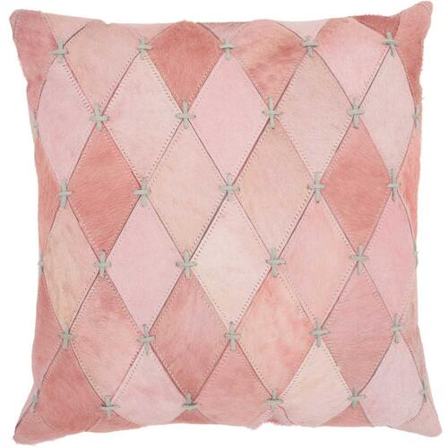 "Natural Leather Hide S4293 Rose 20"" X 20"" Throw Pillow"