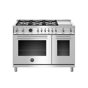 Bertazzoni48 inch Dual Fuel Range, 6 Brass Burners and Griddle , Electric Self Clean Oven Stainless Steel