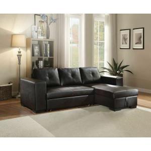 ACME Lloyd Sectional Sofa w/Sleeper - 53345 - Black PU