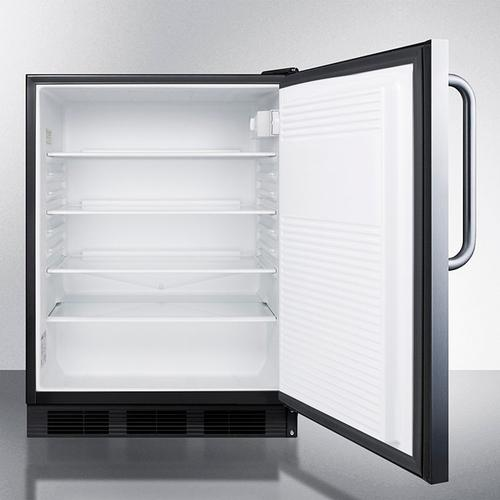 Product Image - ADA Compliant All-refrigerator for Freestanding General Purpose Use, Auto Defrost W/ss Door, Towel Bar Handle, and Black Cabinet