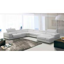See Details - Divani Casa Pella - Modern White Bonded Leather U Shaped Sectional Sofa