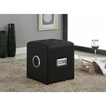 ACME Laila Sound Lounge Ottoman w/Bluetooth Speaker - 96525 - Black PU