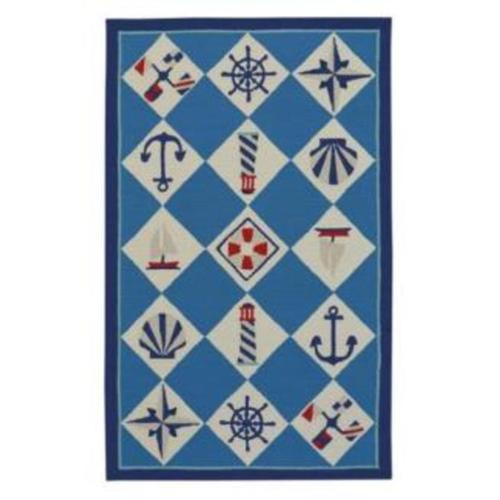 Nautical Grid Ocean Blue - Rectangle - 8' x 10'