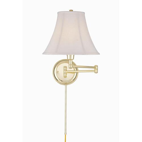 Swing Arm Wall Lamp, Pb/empire Fabric, E27 Cfl 25w/3-way