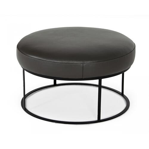 VIG Furniture - Divani Casa Jacoba - Modern Dark Grey Leather Round Ottoman