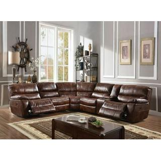 ACME Brax Sectional Sofa (Power Motion) - 52070 - 2-Tone Brown Leather Gel