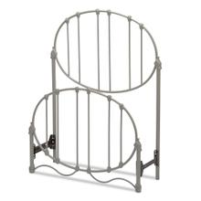 See Details - Emory Fashion Kids Metal Headboard and Footboard with Oval-Shape Spindle Panels and Decorative Curved Bed Base, Gray Finish, Full