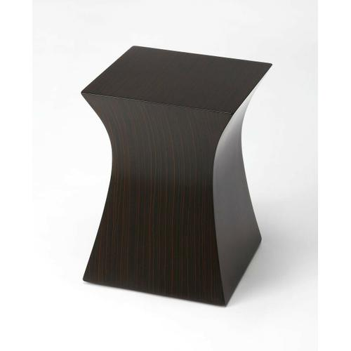This sleek accent table is an ideal complement in any modern living room, bedroom or office space. Crafted from bayur wood solids and wood products, it features a square top and concave sides with an ebony zebrawood laminate surface finish.