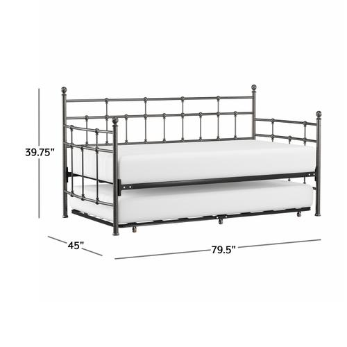 Hillsdale Furniture - Providence Metal Twin Daybed With Roll Out Trundle, Aged Pewter