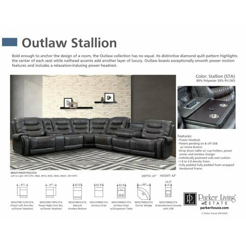 Parker House - OUTLAW - STALLION Armless Chair with Drop Down Table