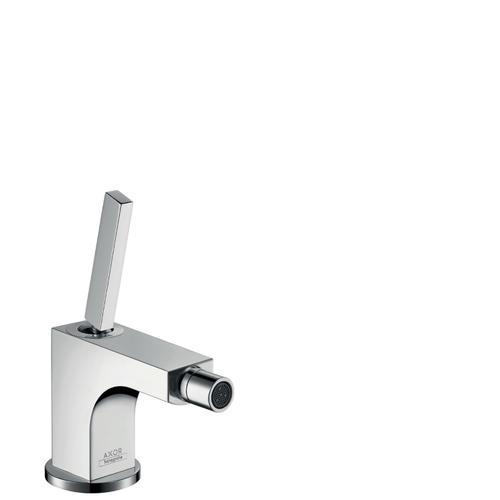 Chrome Single lever bidet mixer with pop-up waste set