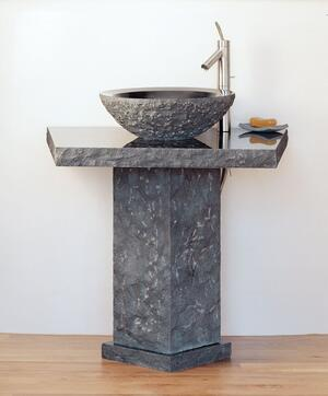 Vessel Pedestal and Pedestal Countertop Black Granite Product Image