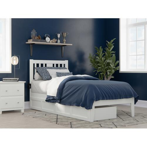 Tahoe Twin Extra Long Bed with USB Turbo Charger and 2 Extra Long Drawers in White